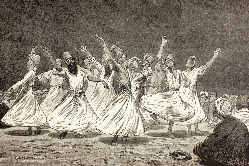 Whirling Dervishes in the 19th Century. From El Mundo Ilustrado, Published Barcelona, 1880