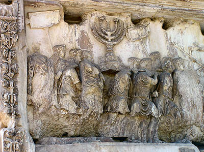 Depiction of Roman soldiers taking the loot from the destruction of the 2nd Temple in 70 AD (Arch of Titus, Rome)