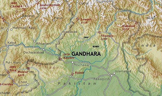 Ancient Gandhara Source: https://upload.wikimedia.org/wikipedia/commons/thumb/9/94/Gandhara_map.jpg/640px-Gandhara_map.jpg