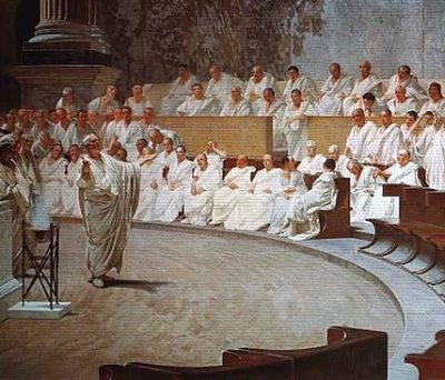 Cicerone denuncia Catilina by Cesare Maccari (1888)