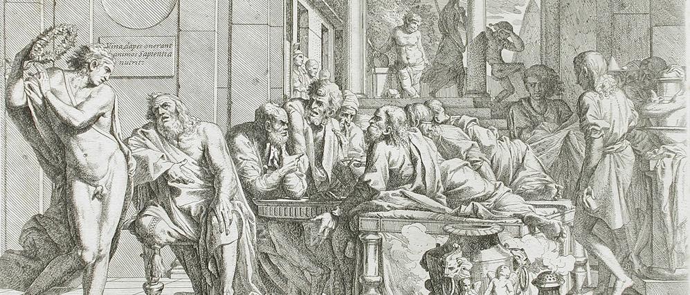 Drunken Alcibiades interrupting the symposium as depicted by Pietro Testa, 1648